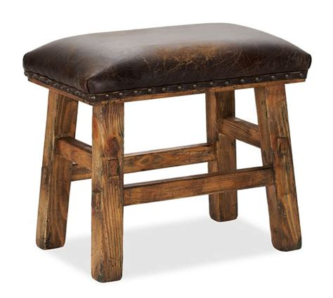 caden leather bench caden leather stool pottery barn