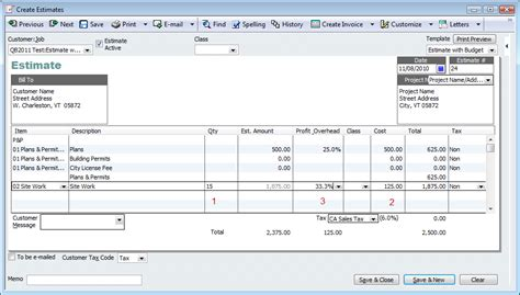 quickbooks contractor tip capture costs markup on