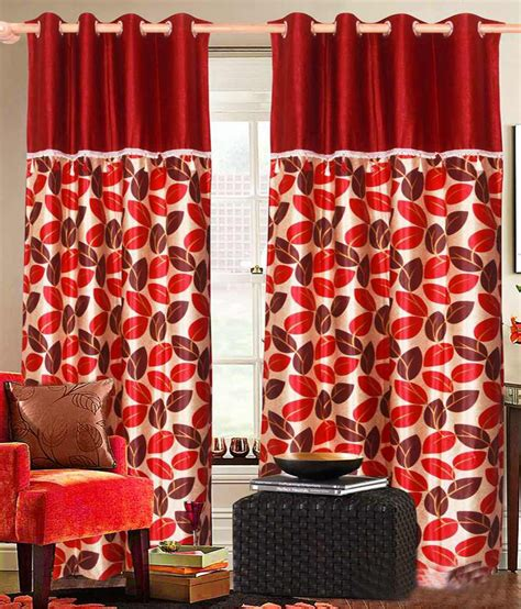 beige and red curtains vrinda beige red natural poly cotton eyelet curtains set