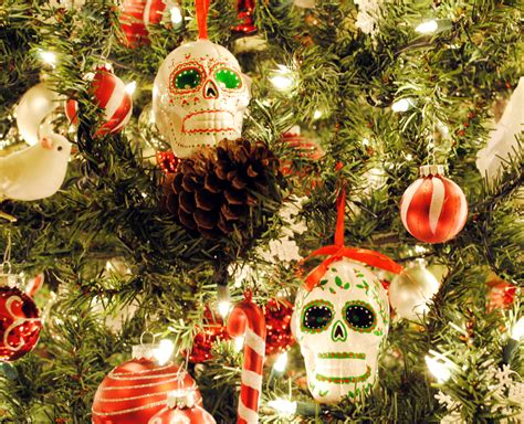peachy cheek christmas decorating and sugar skull ornaments