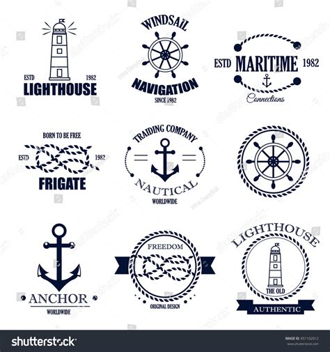 Set Of Vintage Nautical Sea Labels With Retro Typography | set of vintage retro nautical badges and labels nautical