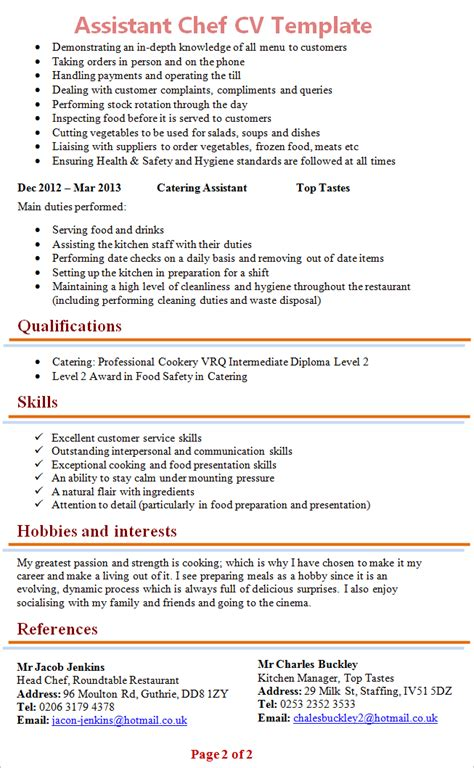 Resume Templates Cook Assistant by Assistant Chef Cv Template 2