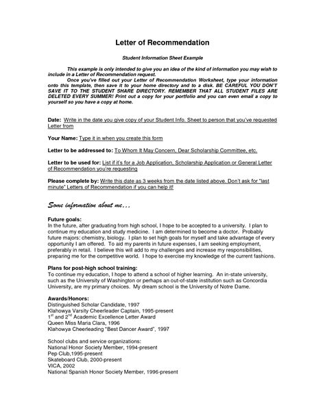 recommendation template format of recommendation letter sle cover letter