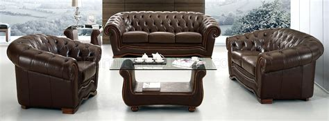 formal leather sofa brown genuine leather formal living room sofa w tufted seats
