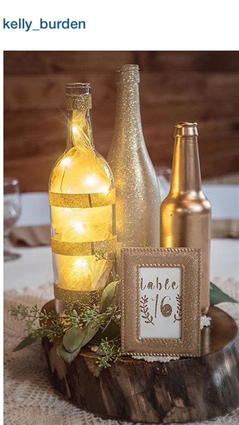 Gold centerpieces, DIY wedding, micro LED lights, wine