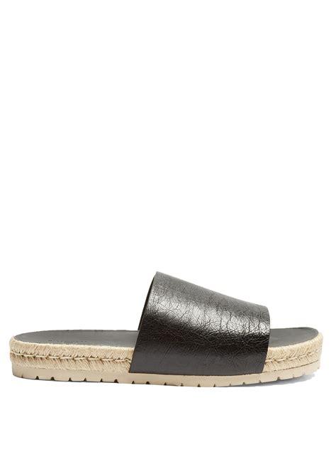 Balenciagaleather Slides balenciaga leather slides for lyst