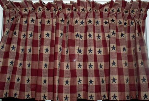 red and white star curtains americana navy stars on berry plaid homespun valance