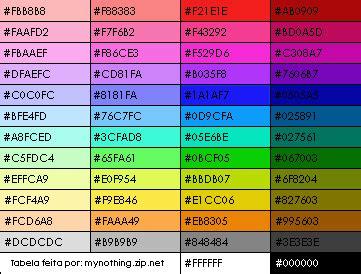 tabela de cores css