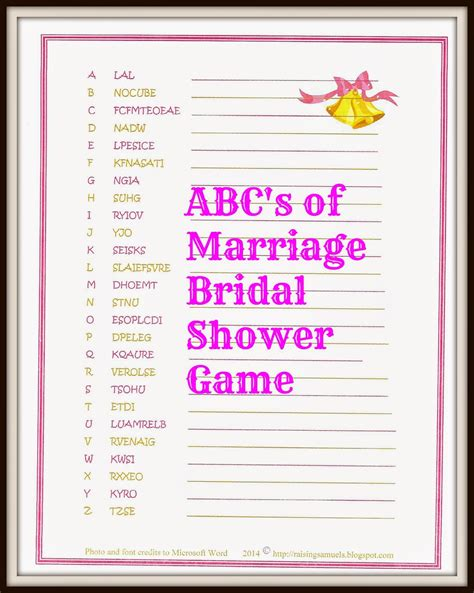 top 10 to play at a bridal shower raising samuels free abc s of marriage bridal