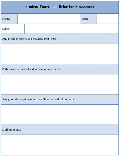functional behavior assessment template assessment template for student functional behavior