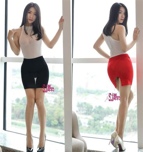 high cut tight pencil skirt silk see through