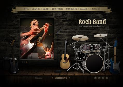 Rock Band Guitar Html5 Template 300111555 On Behance Rock Band Web Template