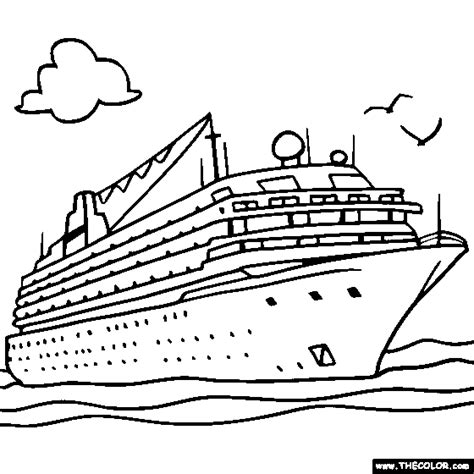 Boat Ship Speedboat Sailboat Battleship Submarine Ships Coloring Pages