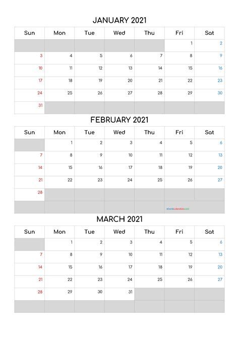 Free Calendar January February March 2021-Template Code