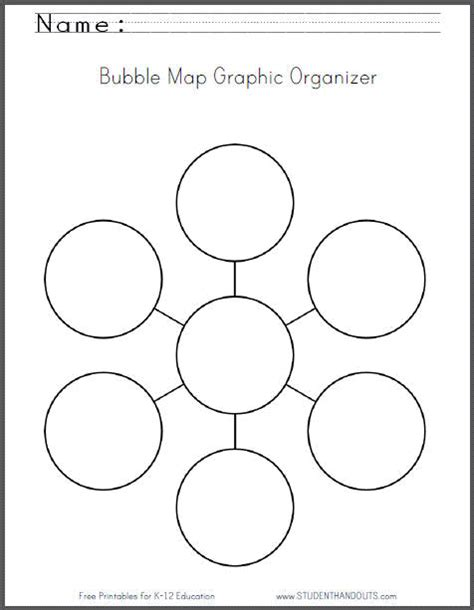 printable graphic organizers bubble map free printable worksheet student handouts