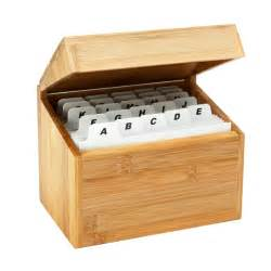 business card index box bamboo recipe card box the container store
