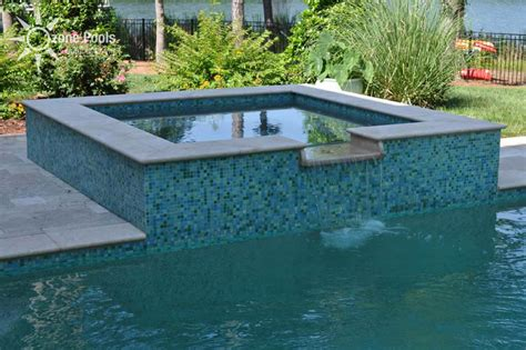 pools with spas rectangular pool spa with glass tile