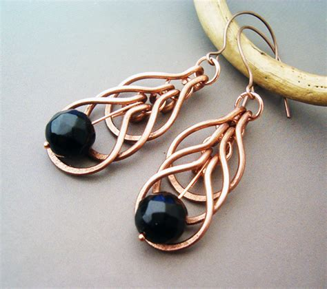 hammered copper wire wrapped jewelry wire wrapped earrings hammered copper and agate by bleek70 on deviantart