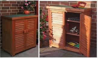 armoire de jardin en bois basse rangement outil