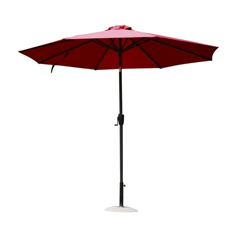 Red Solar Led Patio Umbrella Aosom Ca Solar Patio Umbrella