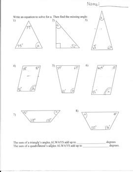 finding missing angles of a triangle worksheet missing angles worksheet triangles and quadrilaterals tpt