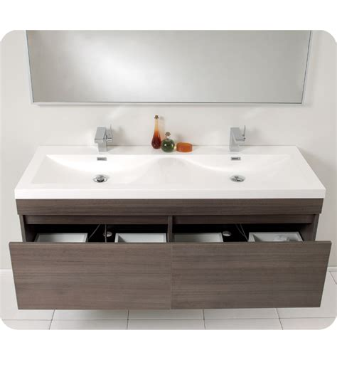 Contemporary Bathroom Vanities And Sinks Fresca Largo Gray Oak Modern Bathroom Vanity W Wavy Sinks Direct To You Furniture