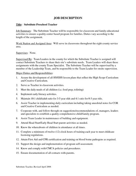substitute resume sle 28 images substitute resume sle