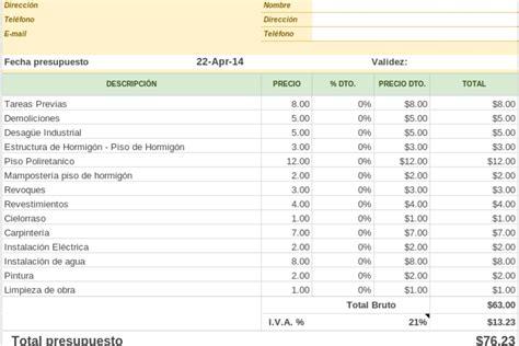 020 ejemplo de presupuesto mano de obra materiales y planilla de google de presupuesto de obra planillaexcel com