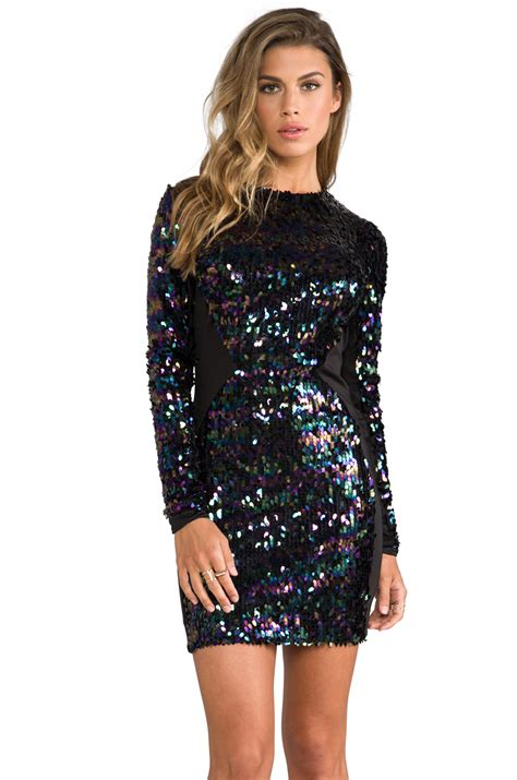 black long sleeve sequin dress dress the population ryan long sleeve sequin dress in
