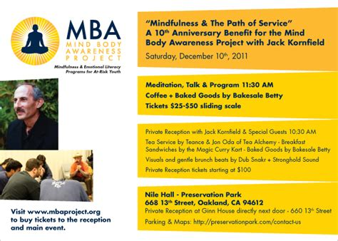 Mba Project Mindfulness by Mba S 10th Anniversary With Kornfield Mind