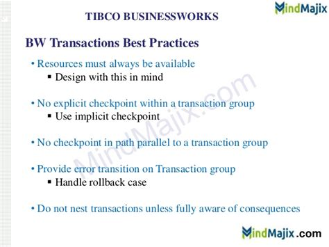 Tibco Bw Best Practices Document transactions