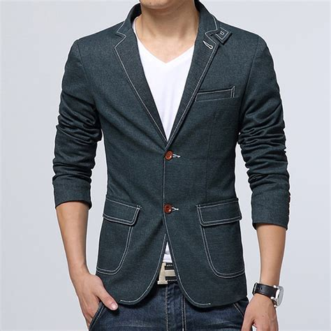 Blazer Denim Casual Blazers For With Fashion Ql