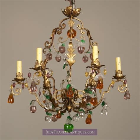 Glass Fruit Chandelier Six Light Chandelier With Colored Glass Fruit Item 1378