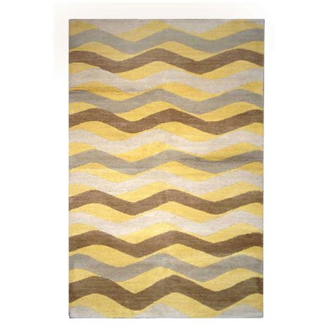 Tufenkian Modern Yellow Brown Gray Wool Rug 8212 Designer Rugs