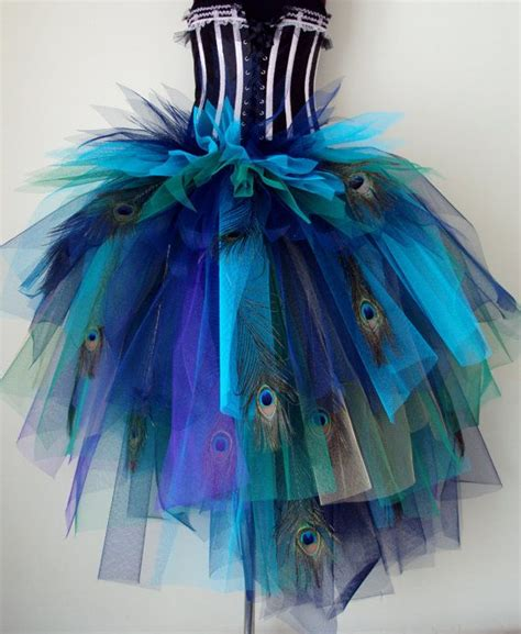 Handmade Peacock Costume - navy blue purple peacock feathers burlesque tutu
