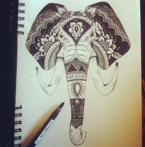 elephant face tattoo decorative indian elephant inspired design