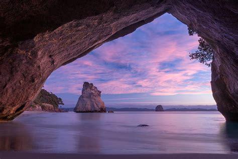 sunrise  cathedral cove  zealand newzealand lan