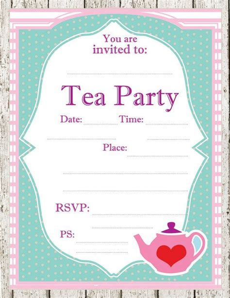tea party printable invitations parties pinterest