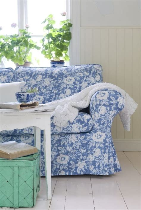 Country Cottage Armchairs Picture Of Blue Floral Print Ektorp Sofa