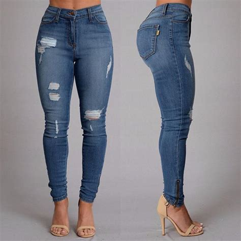 aliexpress jeans brand new fashion trend female ripped broken hole