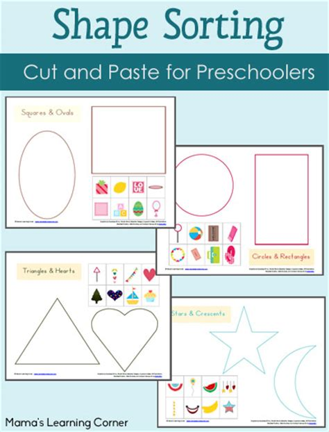 Sorting Shapes Worksheets For Kindergarten by Shape Sorting Printables Packet Mamas Learning Corner