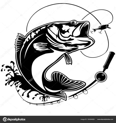 bass clip fishing bass logo isolated stock vector 169 lioriki 184384656