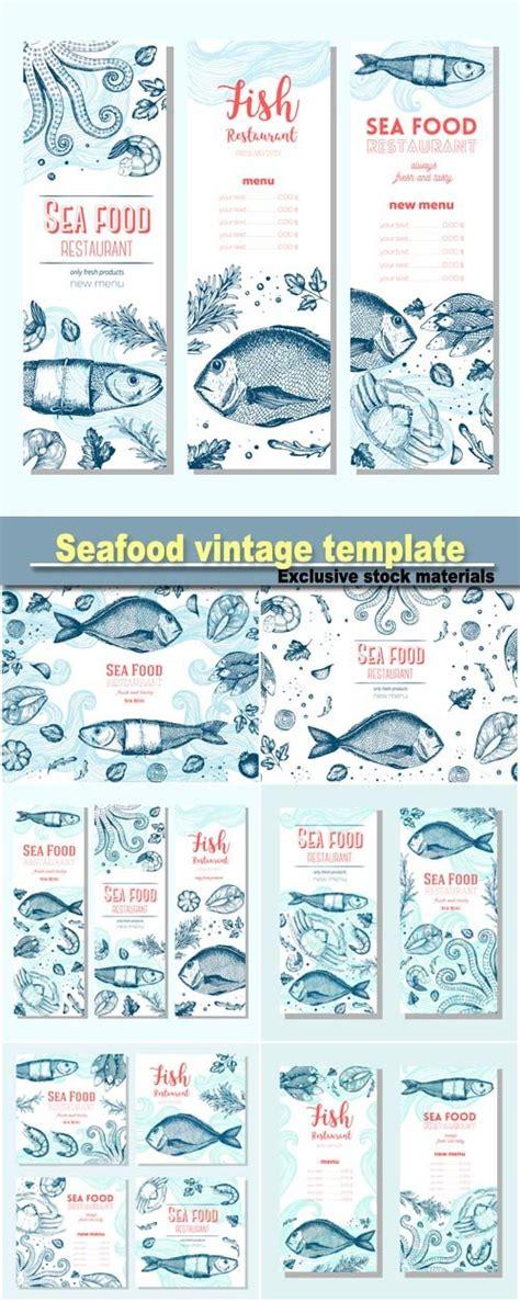 seafood vintage design template vertical banners set fish