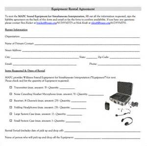 equipment lease contract template sle equipment rental agreement template 8 free