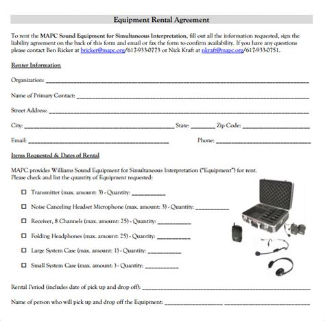 14 Equipment Rental Agreement Templates Sle Templates Equipment Rental Agreement Template