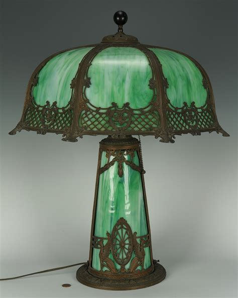 Slag Glass L Value by Lot 274 Table L With Slag Glass Shade And Base