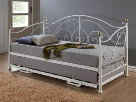 single day bed birlea milano 3ft single cream metal day bed frame with