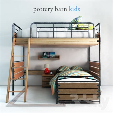 pottery barn loft bed 3d models bed pottery barn owen twin loft bed