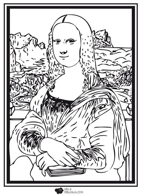 free dibujos de mona lisa coloring pages