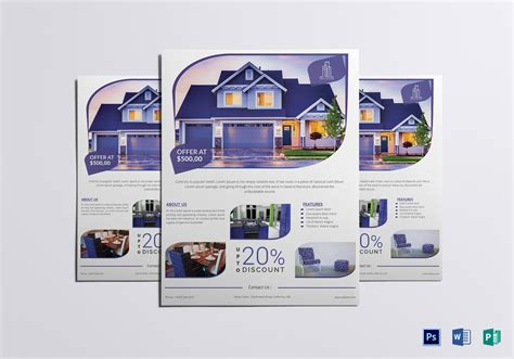 real estate flyer template word modern real estate flyer design template in word psd publisher